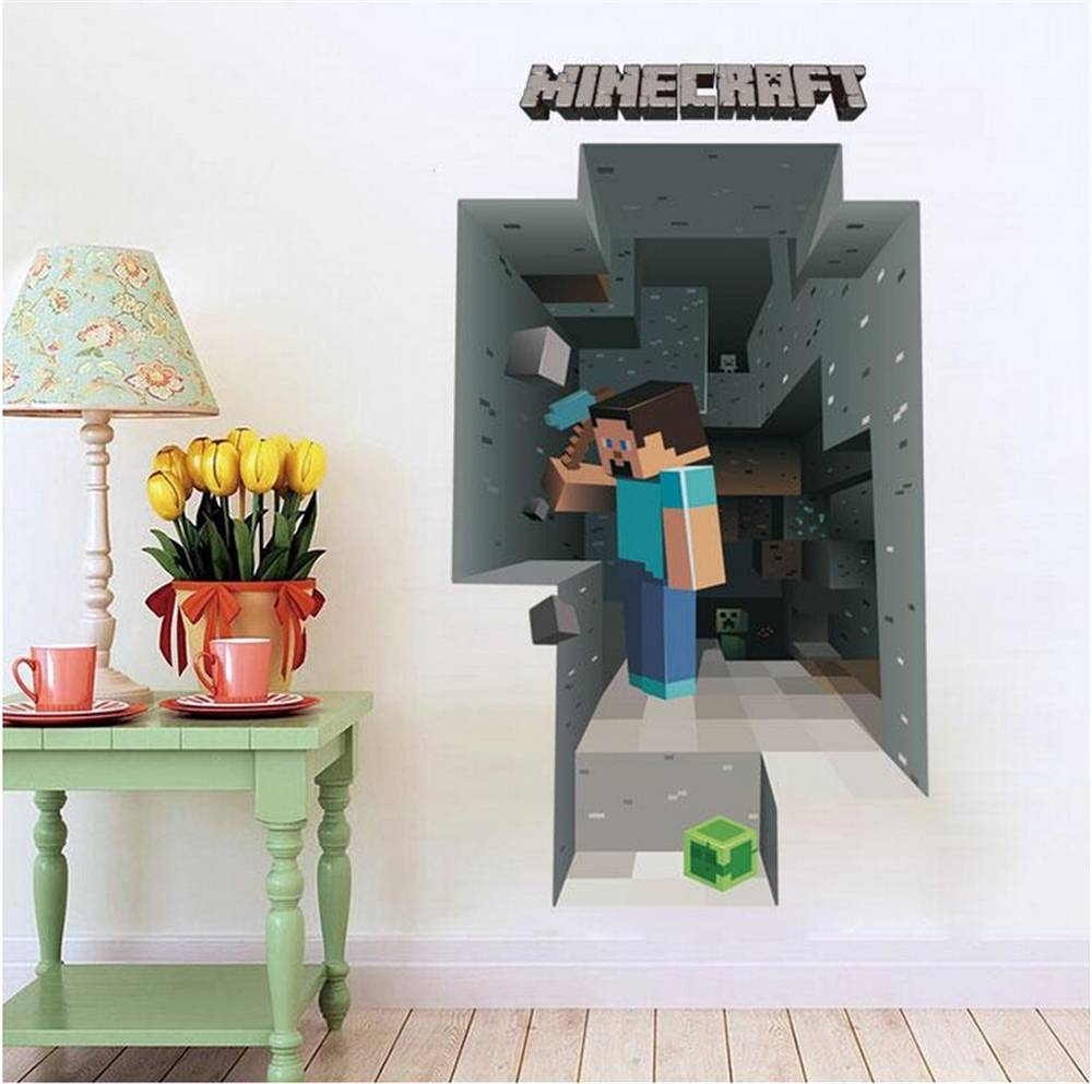Aliexpress : Buy 5 Styles Kawaii New Pvc Game Wall Sticker Pertaining To Current Minecraft 3d Wall Art (View 15 of 20)