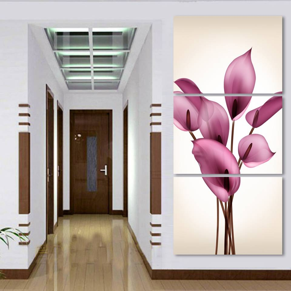 Aliexpress : Buy Beautiful Lily Flowers Printed On Canvas 3 Throughout Most Recently Released Modular Wall Art (View 20 of 25)