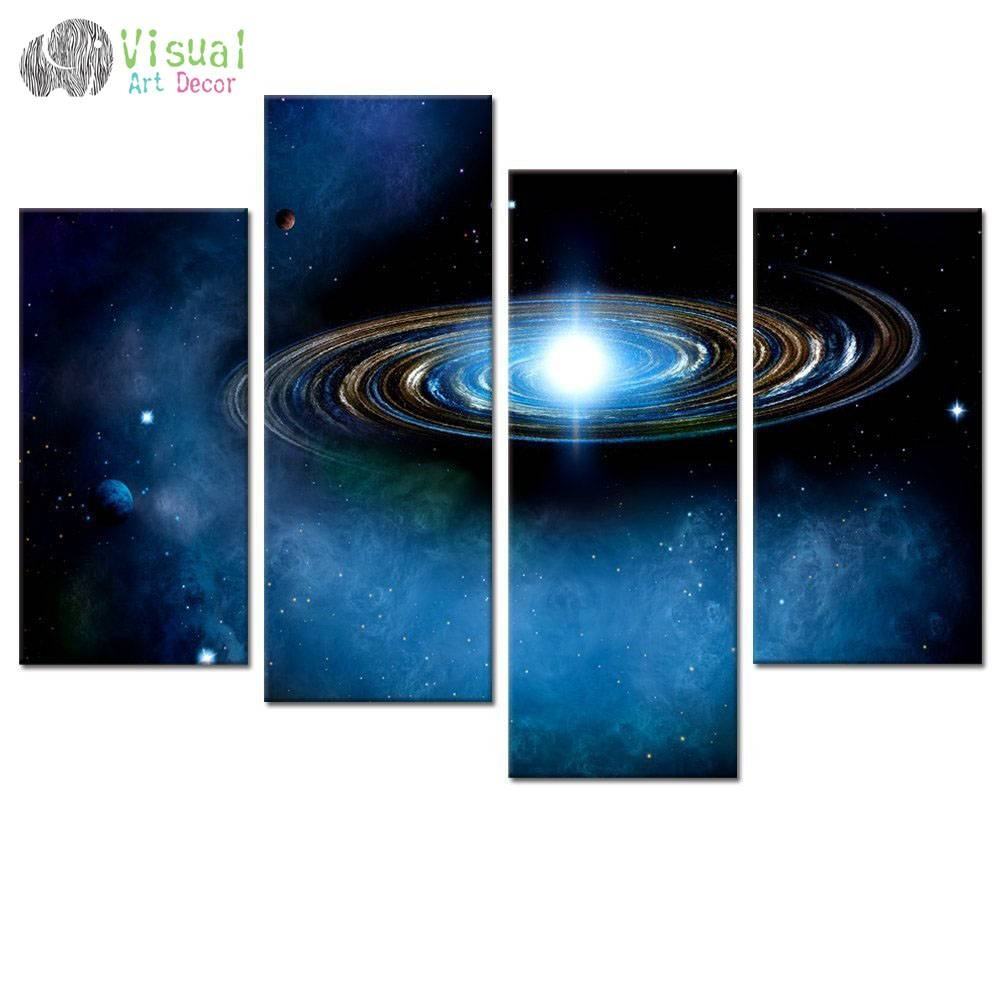 Aliexpress : Buy Blue Starry Canvas Wall Art Prints Outer Regarding Most Popular Outer Space Wall Art (View 2 of 25)