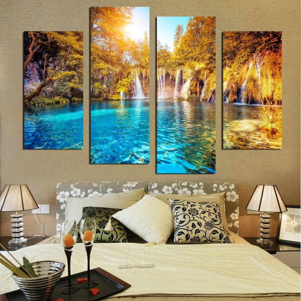 Aliexpress : Buy Canvas 4 Panel Wall Art Waterfall Painting Inside Most Up To Date Waterfall Wall Art (View 9 of 20)