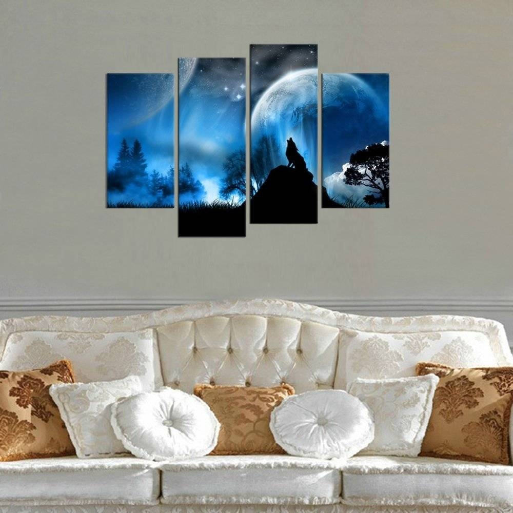 Aliexpress : Buy Canvas Art Wolf Howling In Midnight Framed 4 Throughout Current 4 Piece Wall Art (View 4 of 15)