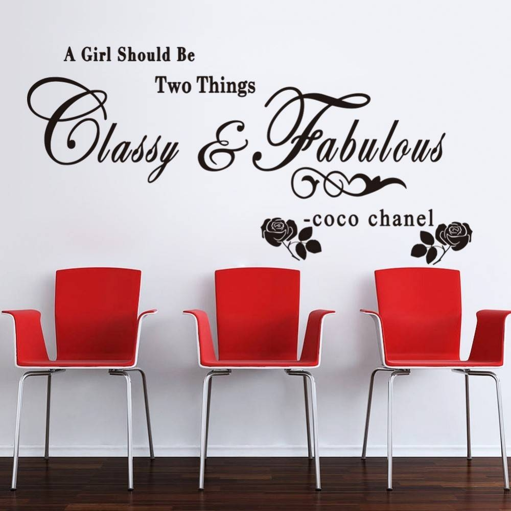 Aliexpress : Buy Coco Chanel Wall Stickers For Girls Room Pink Within 2018 Coco Chanel Wall Decals (View 14 of 25)