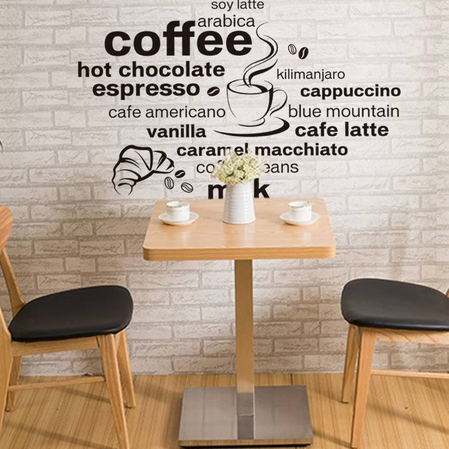 Aliexpress : Buy Creative English Coffee Quotes Wall Sticker With Most Up To Date Cafe Latte Kitchen Wall Art (View 4 of 30)