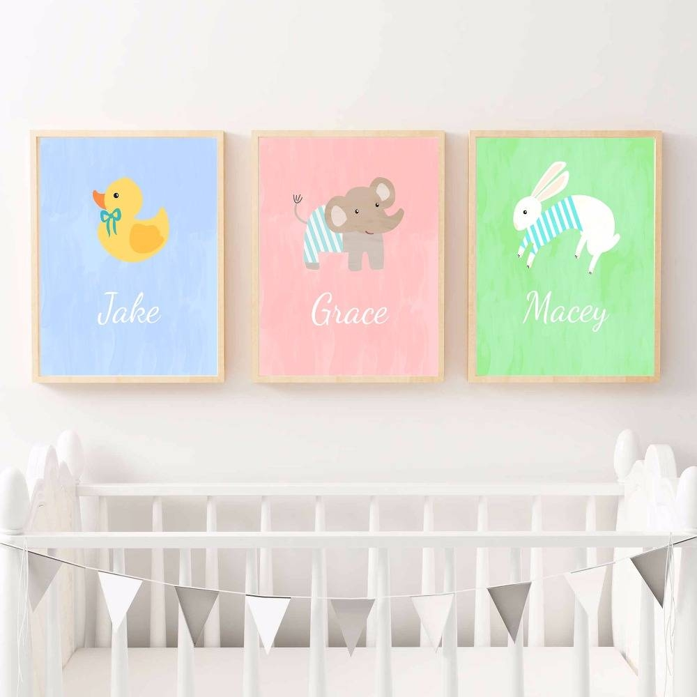 Aliexpress : Buy Duck Elephant Rabbit Nursery Canvas Art Print In Newest Nursery Canvas Art (View 3 of 20)