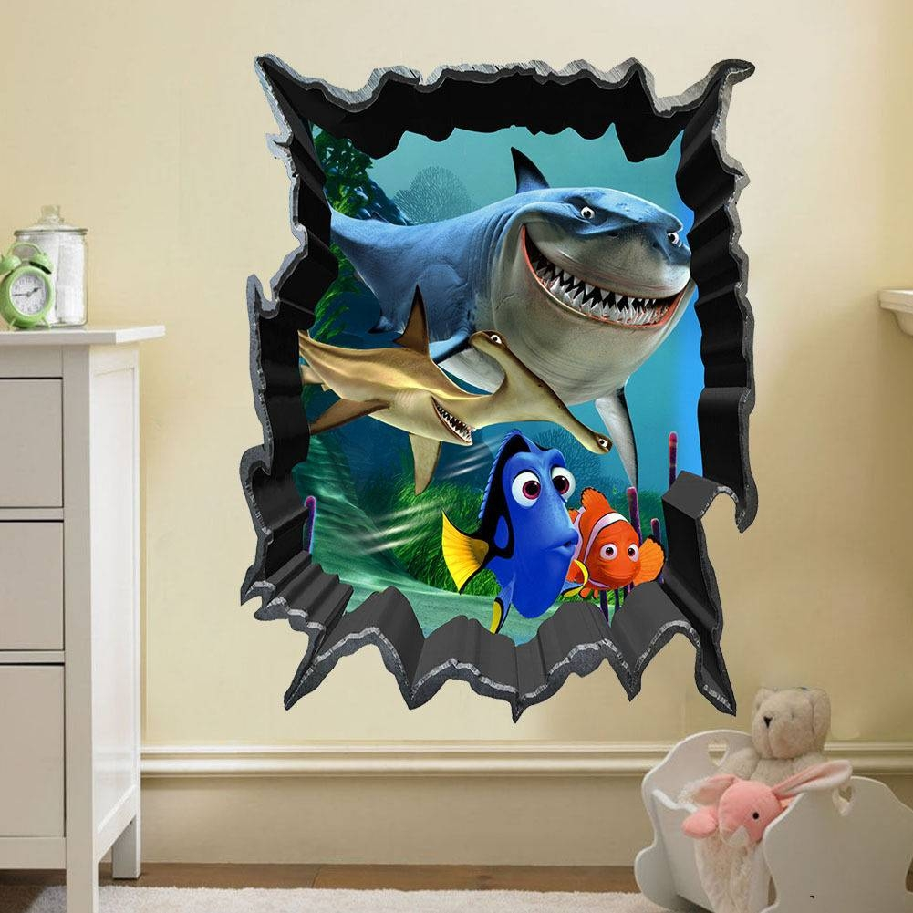 Aliexpress : Buy Finding Nemo Bruce Dory Fish 3d View Art Wall Throughout Latest Fish 3d Wall Art (View 6 of 20)