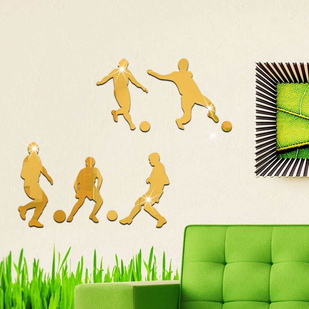 Aliexpress : Buy Football Wall Mirror Stickers Acrylic Regarding Current Football 3D Wall Art (View 7 of 20)