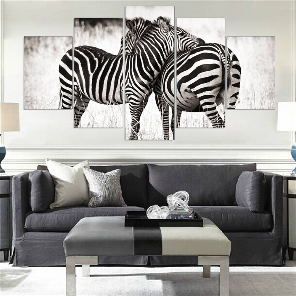 Aliexpress : Buy Frame 5 Pieces Canvas Wall Art Zebra Animal For Most Recently Released Animal Canvas Wall Art (View 3 of 20)