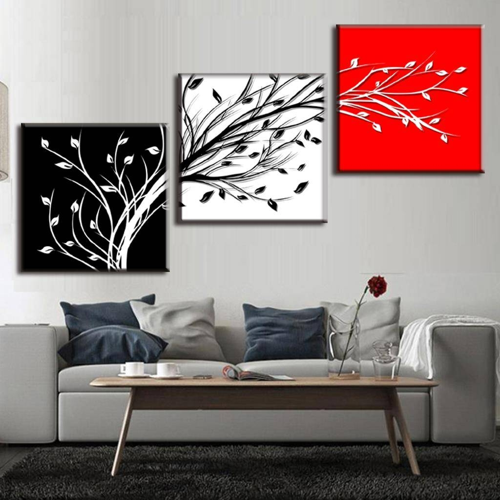 Aliexpress : Buy Framed Painting 3 Pcs/set Abstract Black Throughout Most Up To Date Black And White Wall Art With Red (View 23 of 25)