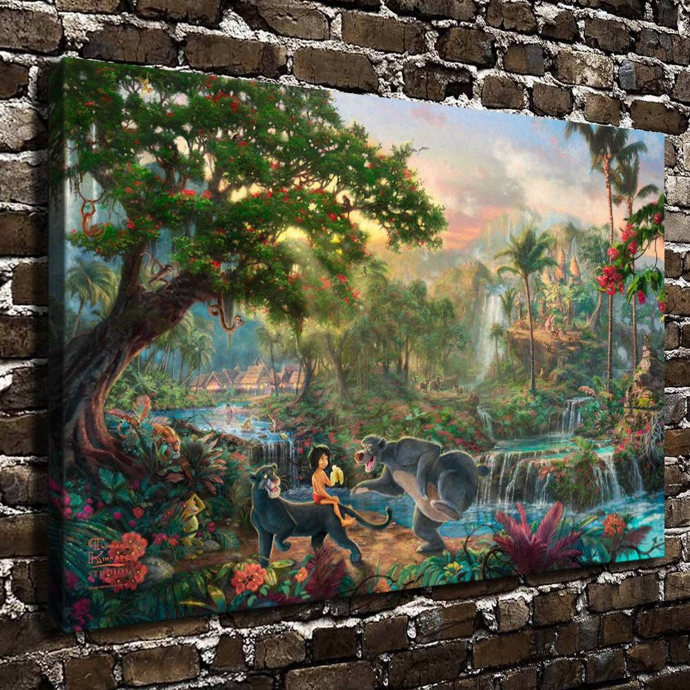 Aliexpress : Buy H1213 Thomas Kinkade The Jungle Book, Hd With Newest Jungle Canvas Wall Art (View 6 of 20)