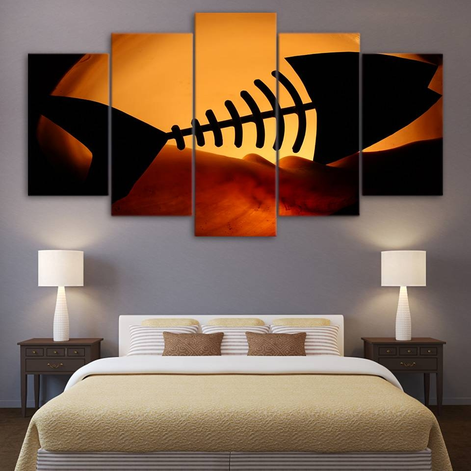 Aliexpress : Buy Hd Printed 5 Piece Canvas Prints Sunset Within 2017 Fish Bone Wall Art (View 1 of 20)