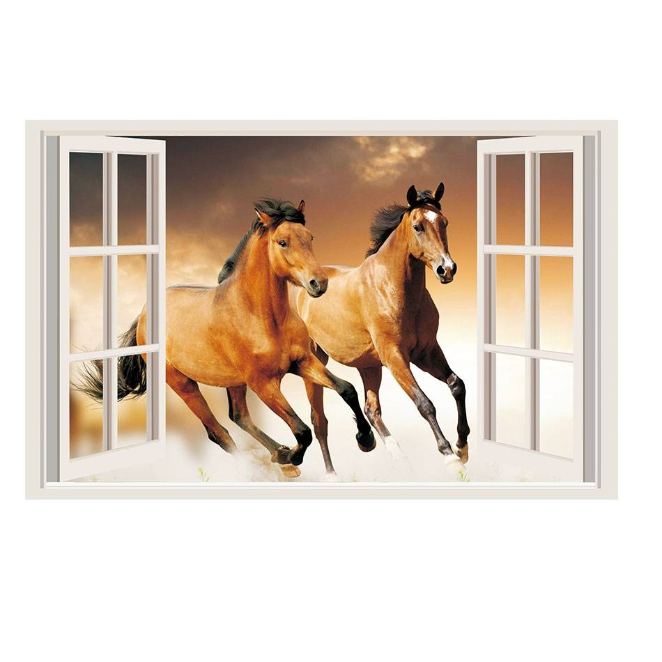 Aliexpress : Buy Horses 3d Window View Decal Removable Vinyl Intended For Best And Newest 3d Horse Wall Art (View 9 of 20)