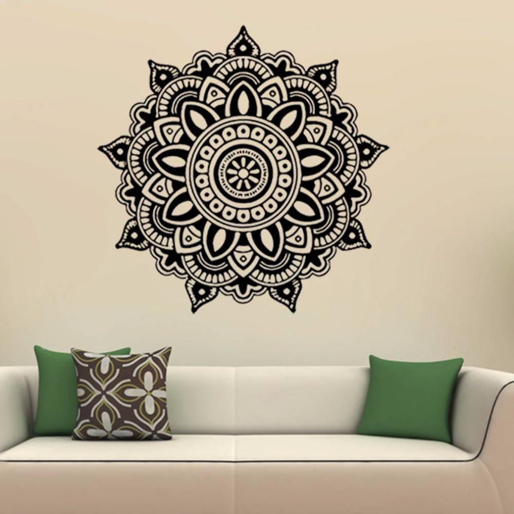 Aliexpress : Buy Mandala Flower Indian Wall Art Stickers Mural Inside Current Pattern Wall Art (View 15 of 20)