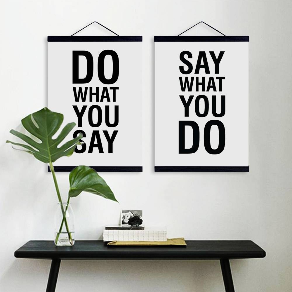 Aliexpress : Buy Minimalist Modern Black White Typography Within 2018 Black And White Framed Wall Art (View 3 of 20)