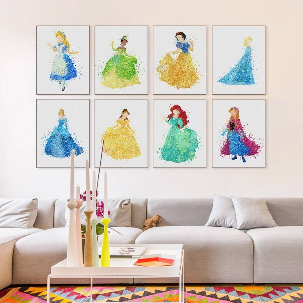 Aliexpress : Buy Modern Princess Cinderella Snow Cartoon Pop Throughout Most Recently Released Childrens Wall Art Canvas (View 2 of 20)