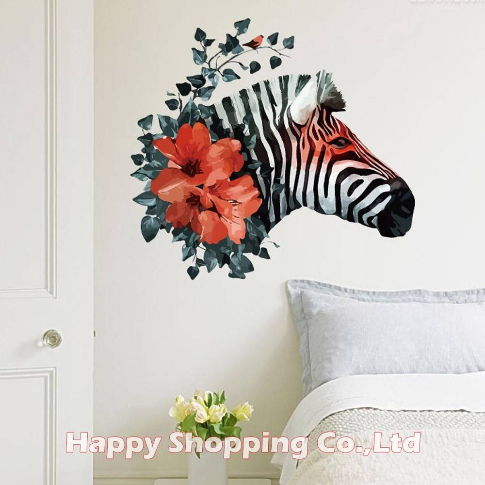 Aliexpress : Buy New Arrival Black Zebra Red Flower 3d Art In Current Zebra 3d Wall Art (View 12 of 20)