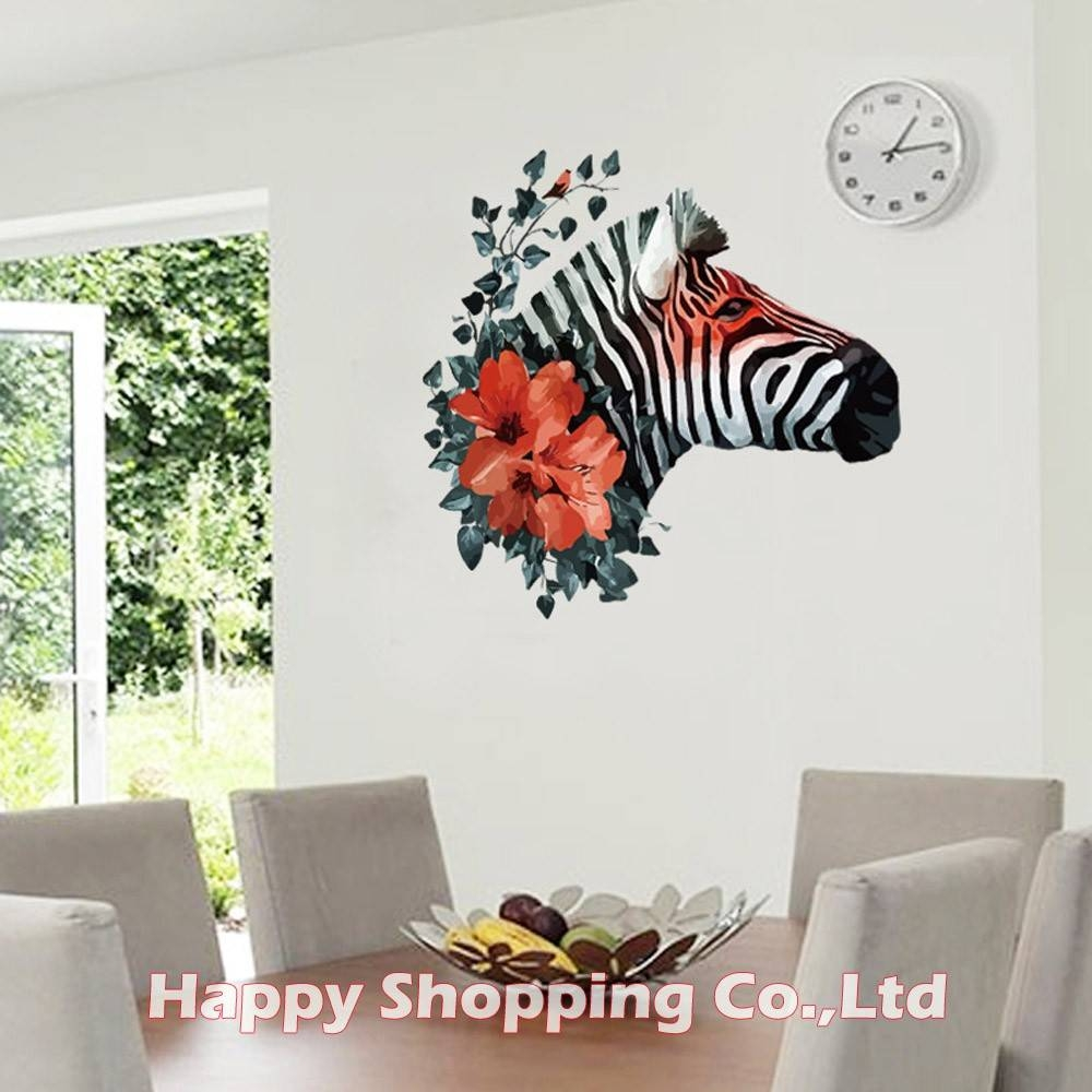 Aliexpress : Buy New Arrival Black Zebra Red Flower 3d Art With Latest Zebra 3d Wall Art (View 10 of 20)