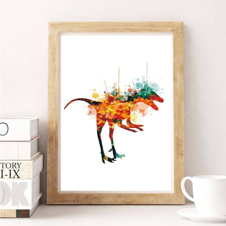 Aliexpress : Buy New Modern Abstract Dinosaur Watercolor For 2018 Dinosaur Canvas Wall Art (View 4 of 15)