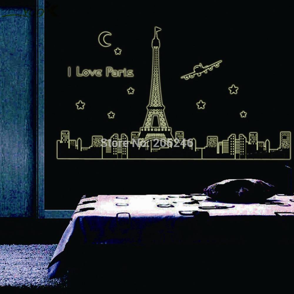 Aliexpress : Buy Paris Eiffel Tower Wall Stickers 3D Star Glow With Current Paris Themed Stickers (View 1 of 15)
