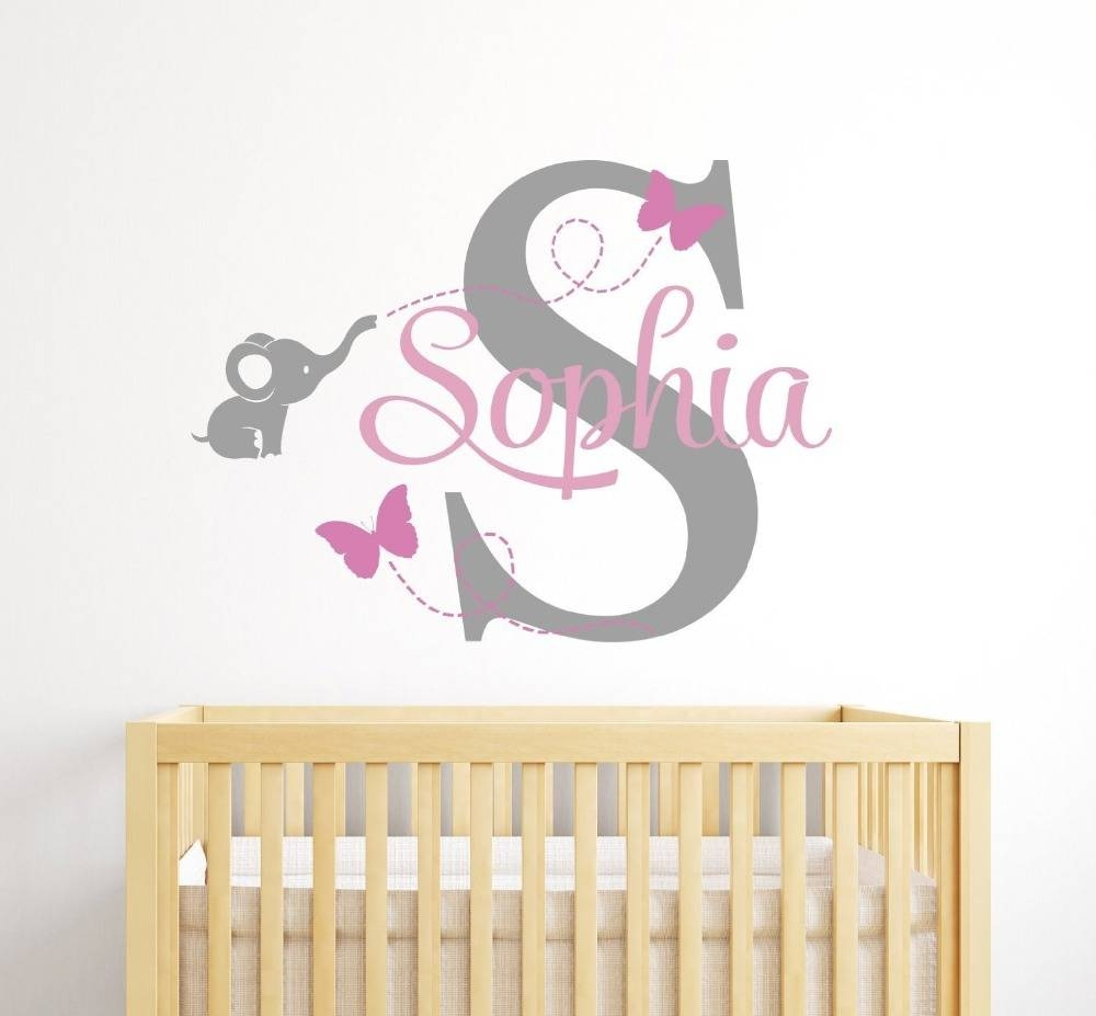 Aliexpress : Buy Personalized Name Kids Room Cute Teddy Bear Intended For Latest Baby Name Wall Art (View 1 of 25)