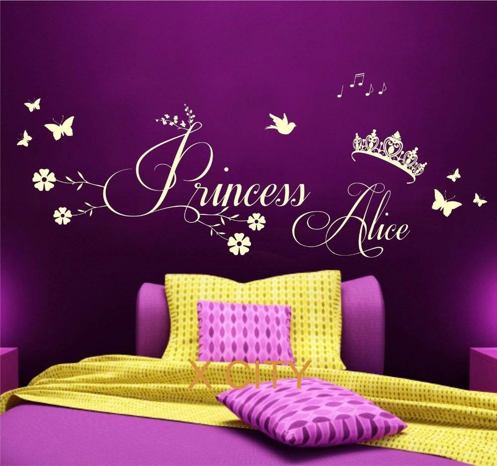 Aliexpress : Buy Princess Crown Personalised Name Children Inside Newest Princess Crown Wall Art (View 1 of 25)