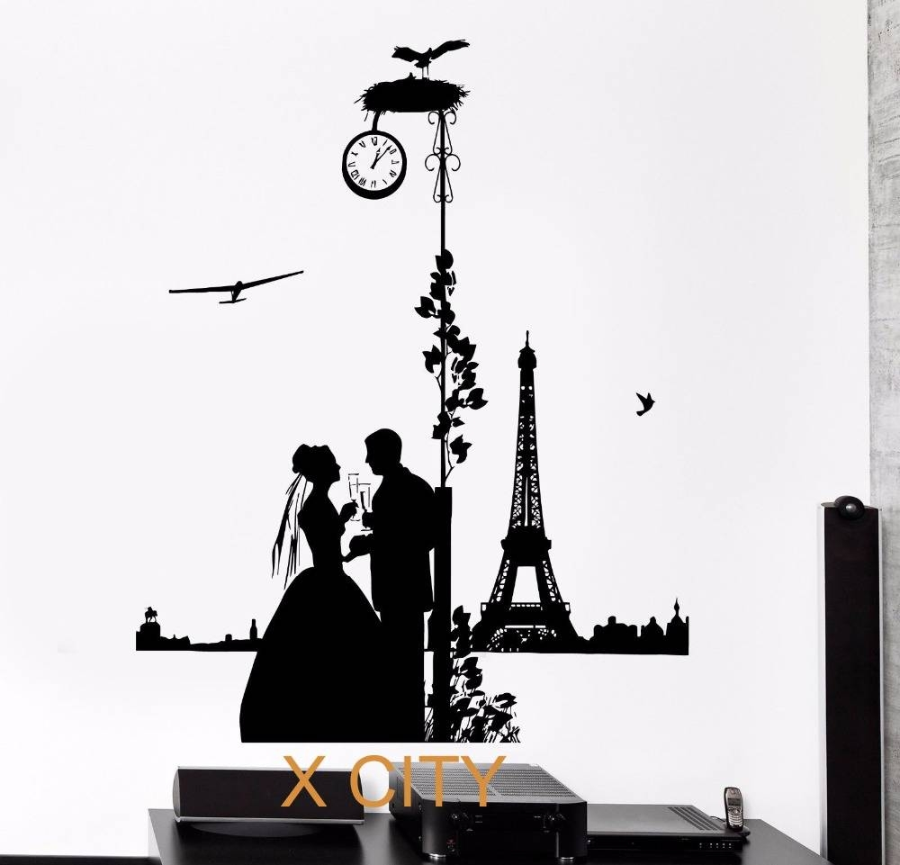 Aliexpress : Buy Romantic Lovers In Paris Silhouette Black Throughout Newest Paris Vinyl Wall Art (View 11 of 20)