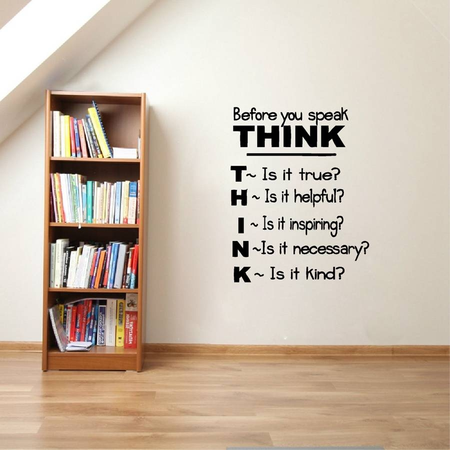 """Aliexpress : Buy """"think Before You Speak"""" Motivational Regarding Best And Newest Classroom Vinyl Wall Art (View 6 of 30)"""