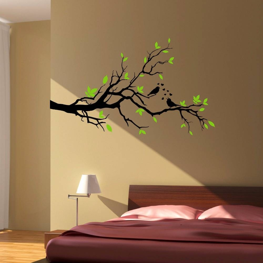 Aliexpress : Buy Tree Branch Love Birds Floral Hearts, Wall Inside Current Tree Branch Wall Art (View 2 of 20)