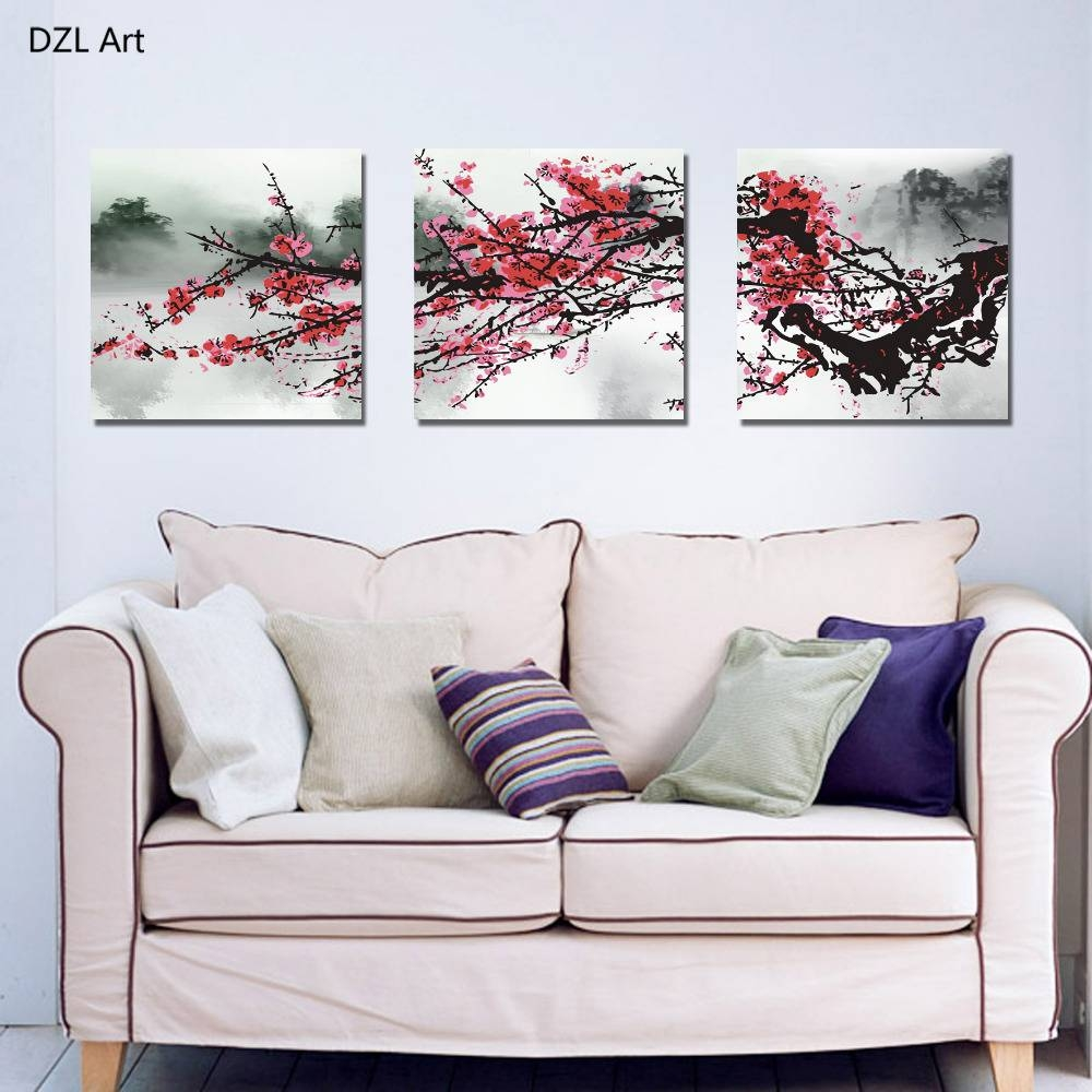 Aliexpress : Buy Unframed 3 Sets Red Plum Blossom Flowers With Recent Red Cherry Blossom Wall Art (View 28 of 30)