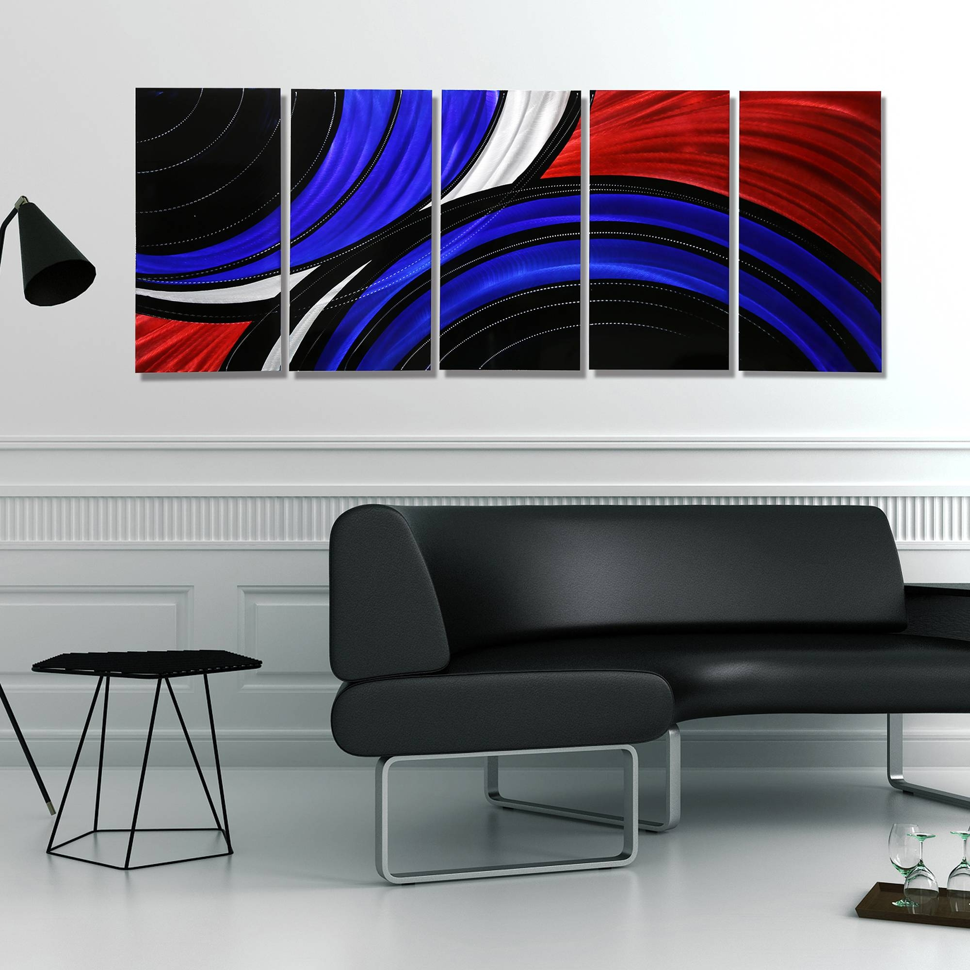 Allegiant – Extra Large Abstract Red, Blue & Black Modern Metal Intended For Newest Black Silver Wall Art (View 12 of 20)