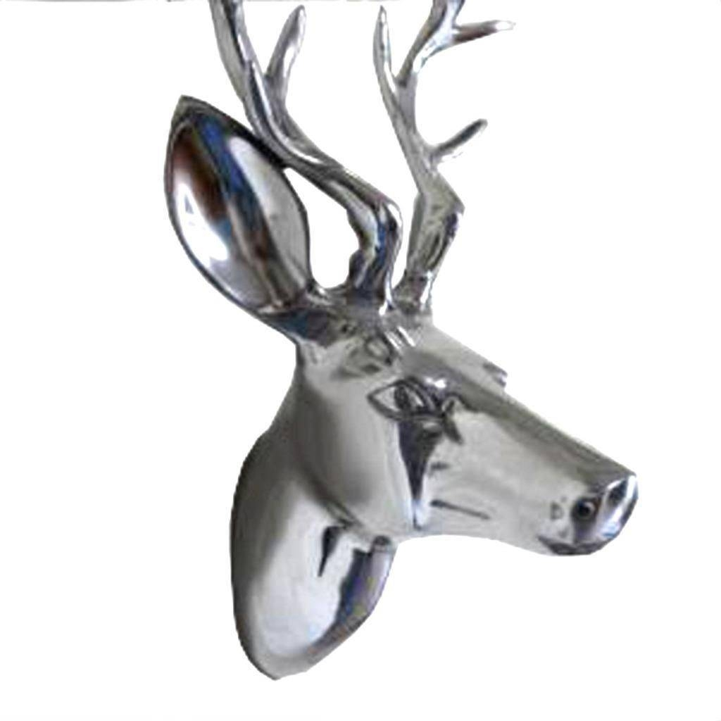 Aluminium Wall Mounted Stags Head Silver Metal Deer Art Plaque With Current Stags Head Wall Art (View 1 of 25)