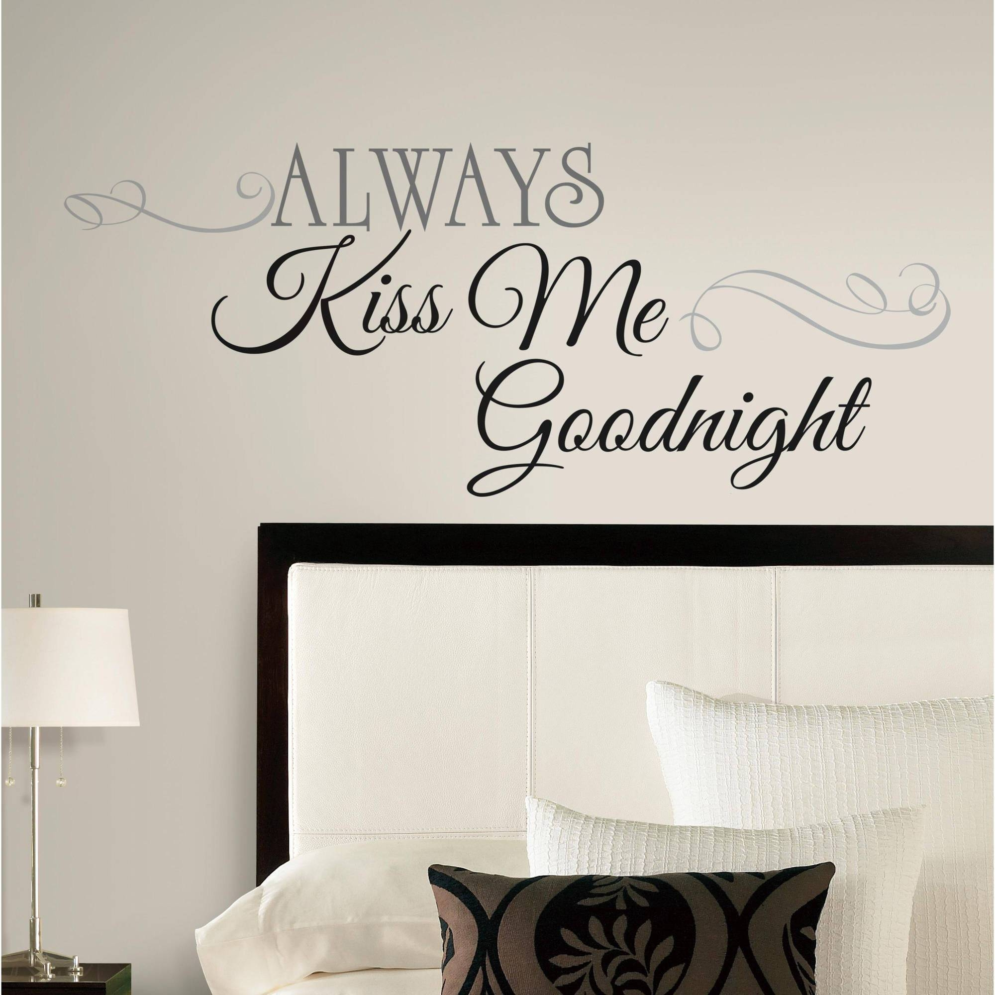 Always Kiss Me Goodnight Peel & Stick Wall Decals – Walmart For Current Walmart Wall Stickers (View 1 of 25)