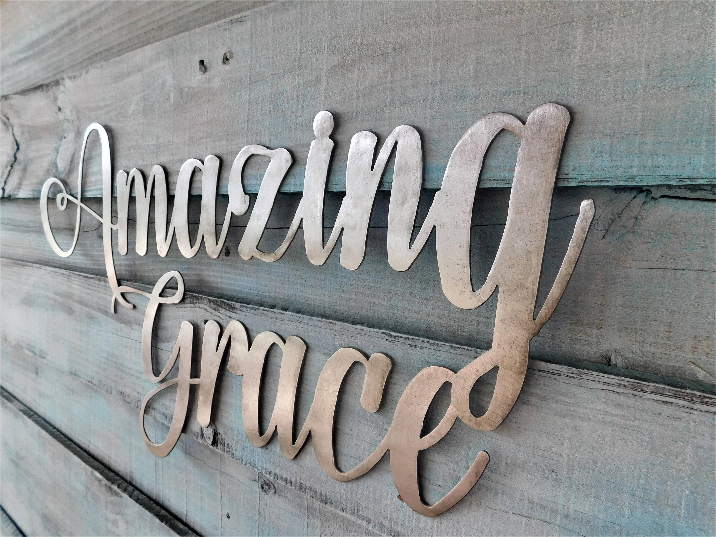 Amazing Grace Sign, Amazing Grace, Amazing Grace Metal Sign, Metal Regarding Most Recently Released Grace Wall Art (View 13 of 25)