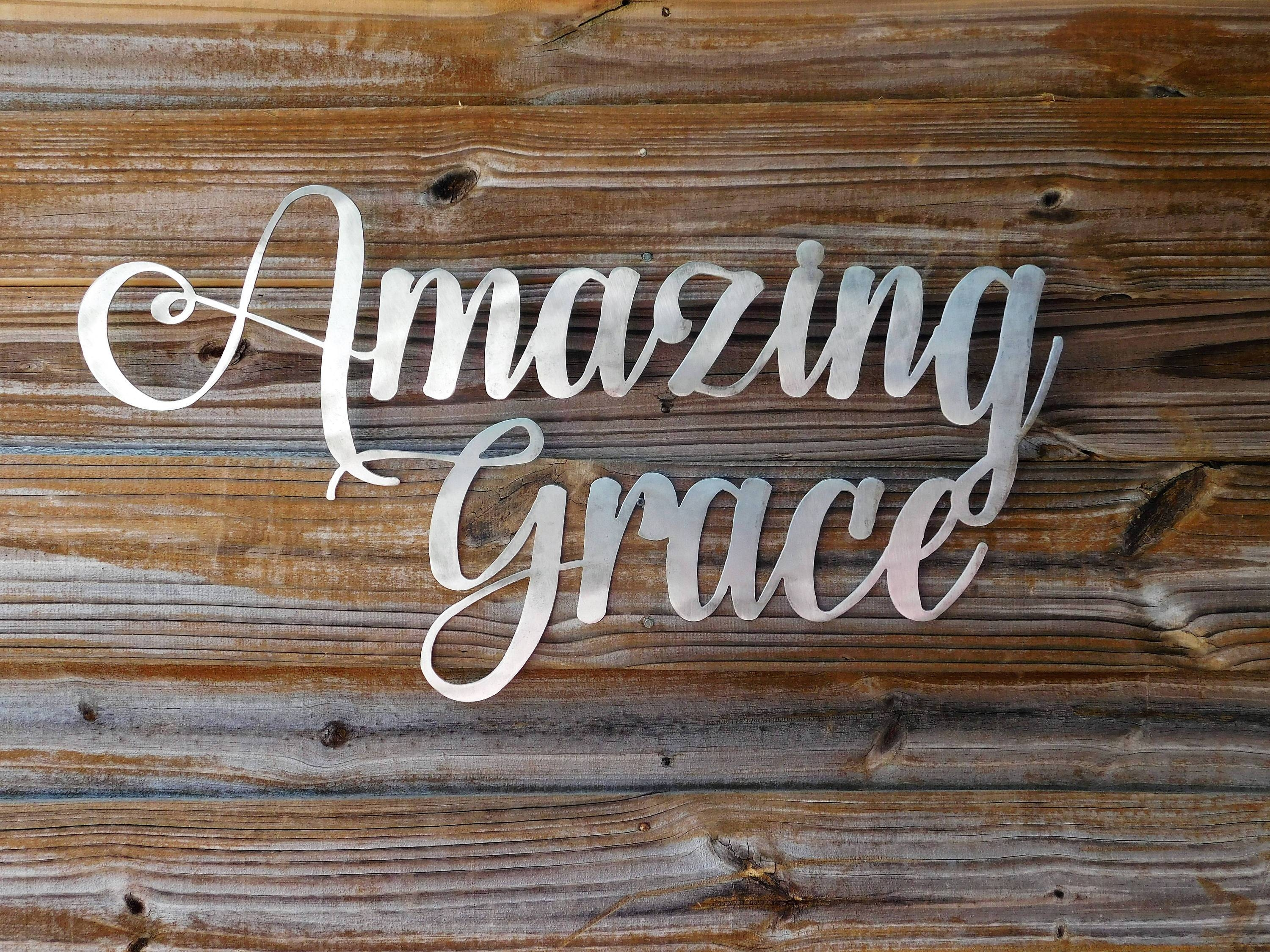 Amazing Grace Sign, Amazing Grace Wall Art, Bible Verse Wall Art Pertaining To Latest Grace Wall Art (View 12 of 25)