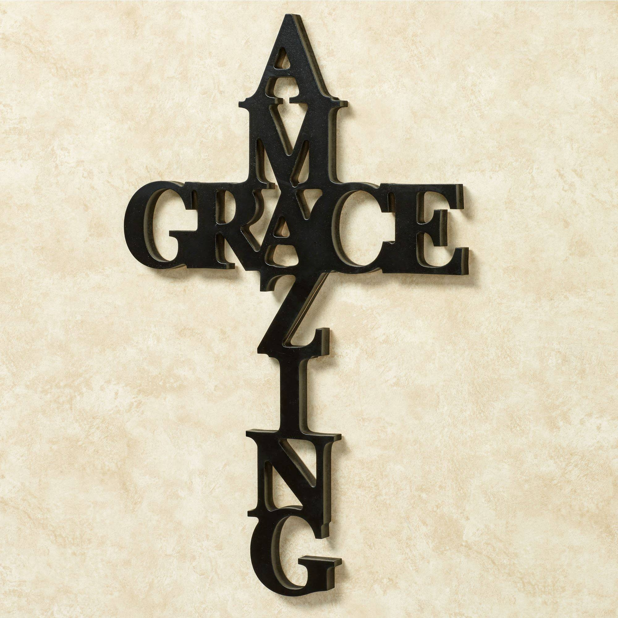 Amazing Grace Word Cross Wall Art Intended For Latest Grace Wall Art (Gallery 8 of 25)