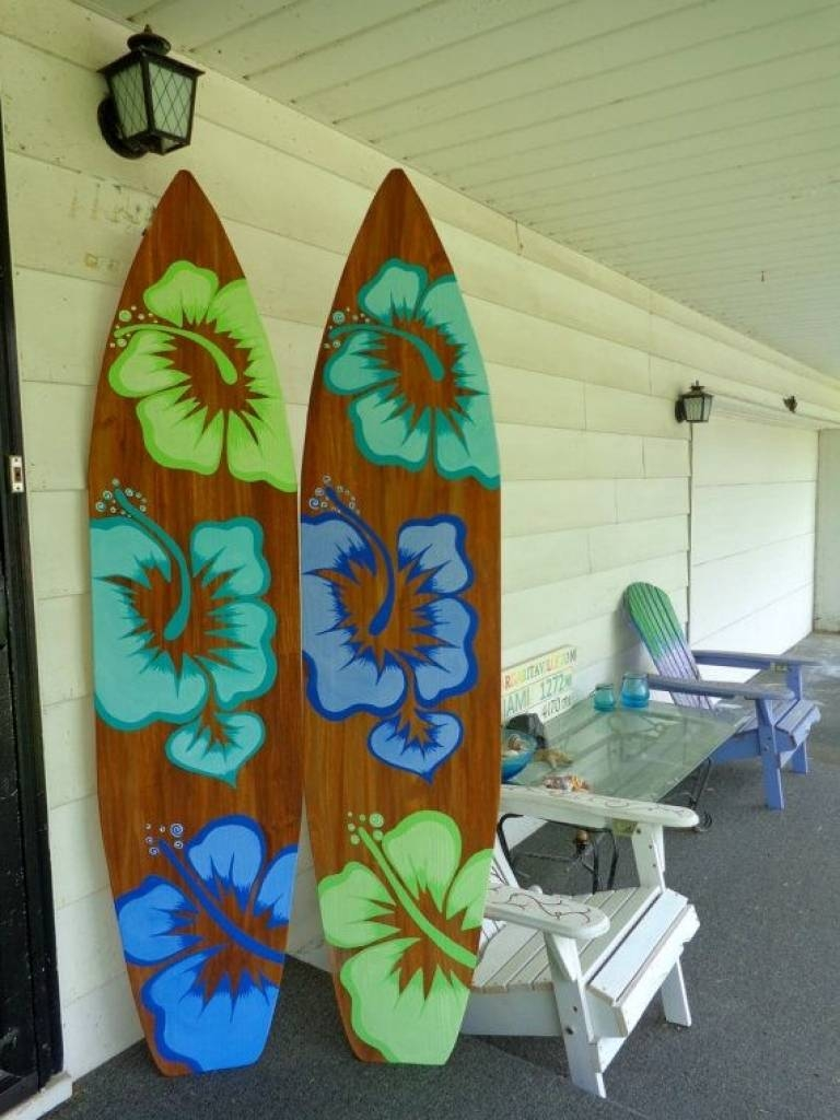 Amazing Surfboard Wall Decoration Ideas | Interior Decoration Pertaining To Most Popular Decorative Surfboard Wall Art (View 22 of 25)