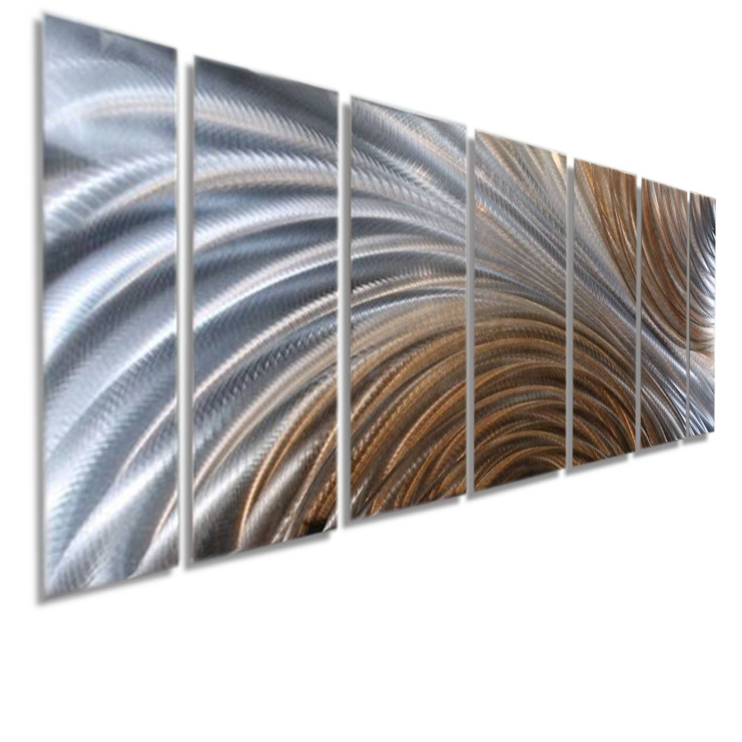 Amber Ascension  Silver & Copper Abstract Metal Wall Artjon Pertaining To 2017 Metal Wall Art (View 2 of 30)