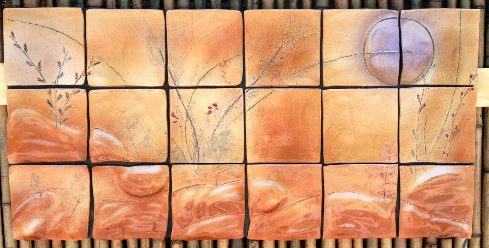 Amethyst Moonrise Ceramic Tile Wall Art, Original Ceramic Art With Regard To Most Recently Released Ceramic Tile Wall Art (View 4 of 20)