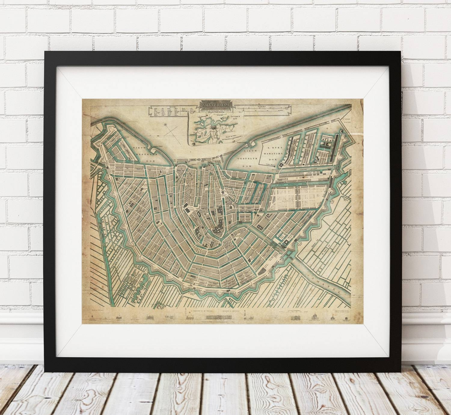 Amsterdam Map Print, Vintage Map Art, Antique Map, Wall Art Pertaining To Most Popular Vintage Map Wall Art (View 14 of 20)