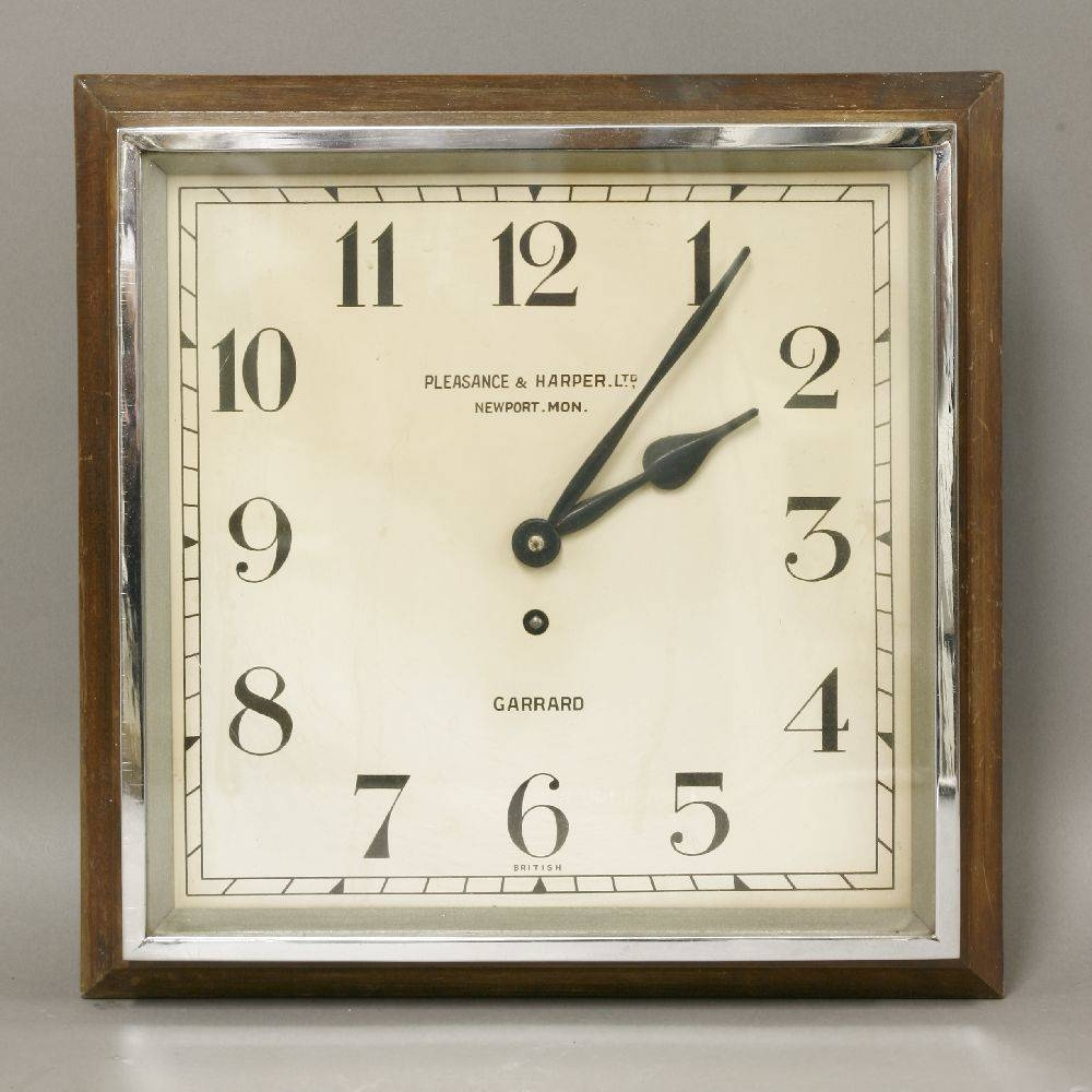 An Art Deco Wall Clock,square With Chrome Door, Dial Inscribed Throughout Most Current Art Deco Wall Clocks (Gallery 11 of 25)