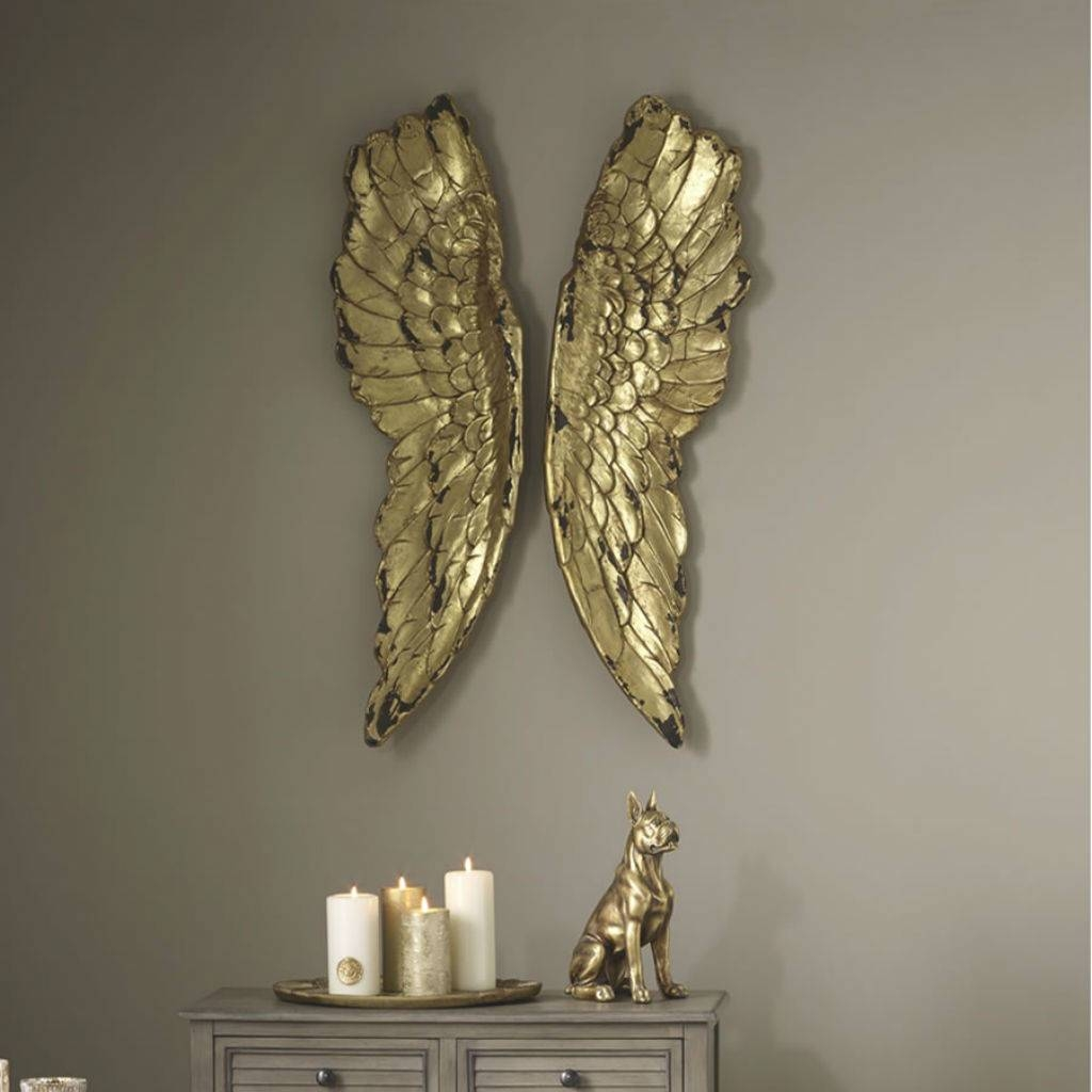 Angel Wings Large Antiqued Grey Silver Or Gold Wall Artcowshed Pertaining To Newest Silver And Gold Wall Art (View 2 of 15)