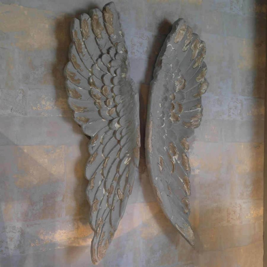 Angel Wings Large Antiqued Grey Silver Or Gold Wall Artcowshed With Best And Newest Angel Wings Wall Art (View 1 of 20)