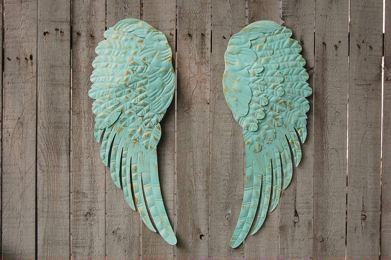 Angel Wings Wall Decor Shabby Chic Aqua Gold Hand Inside Latest Angel Wings Wall Art (View 7 of 20)