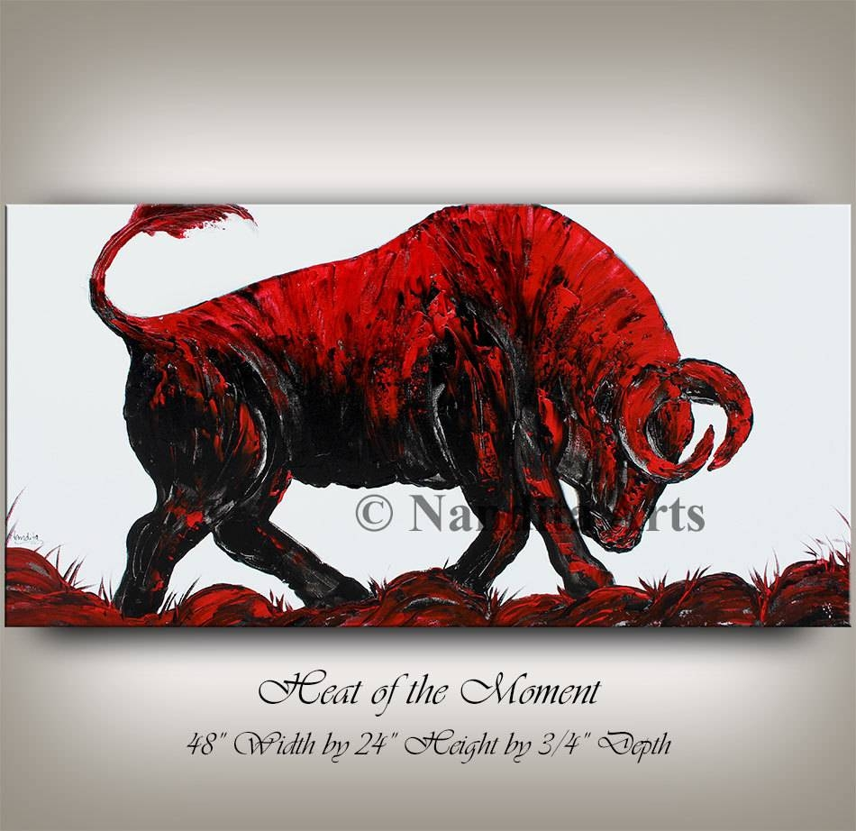 Animal Bull Wall Art Abstract Painting 48 Red Bull Inside Recent Modern Wall Art For Sale (View 1 of 20)