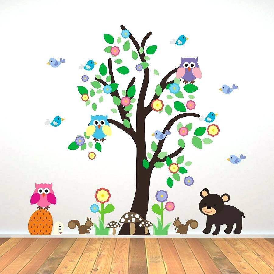 Animal Wall Decals For Kids Nursery Art Animals Wall Art Farm Throughout 2018 Children Wall Art (View 3 of 15)