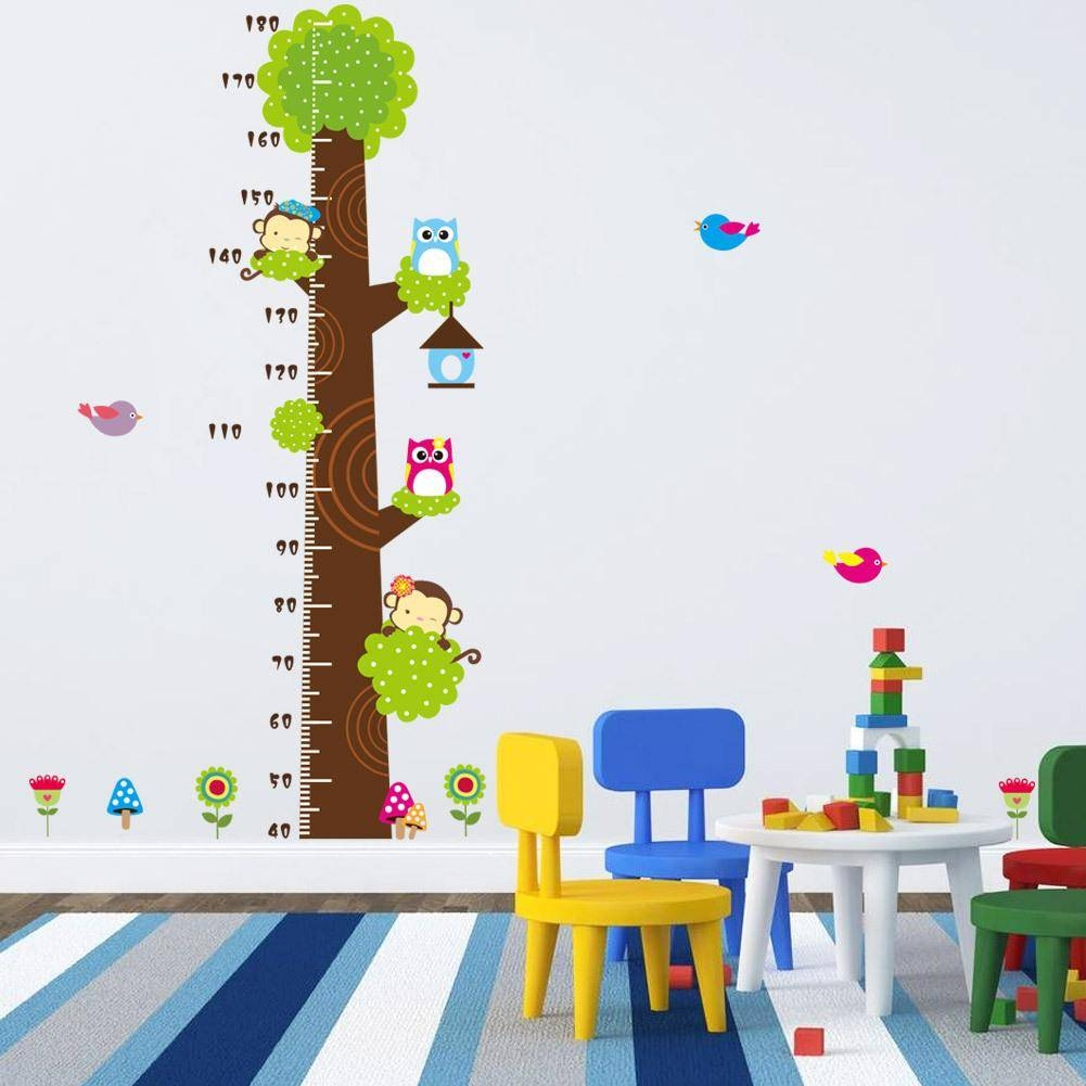 Animals Height Chart Decal Children's Room Baby Nursery Cartoon Within Most Popular Children Wall Art (View 4 of 15)