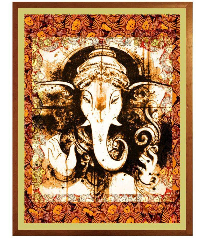 Antaram Designs Ganesh Wall Art Canvas Painting With Frame Single Regarding Most Up To Date Ganesh Wall Art (View 4 of 20)