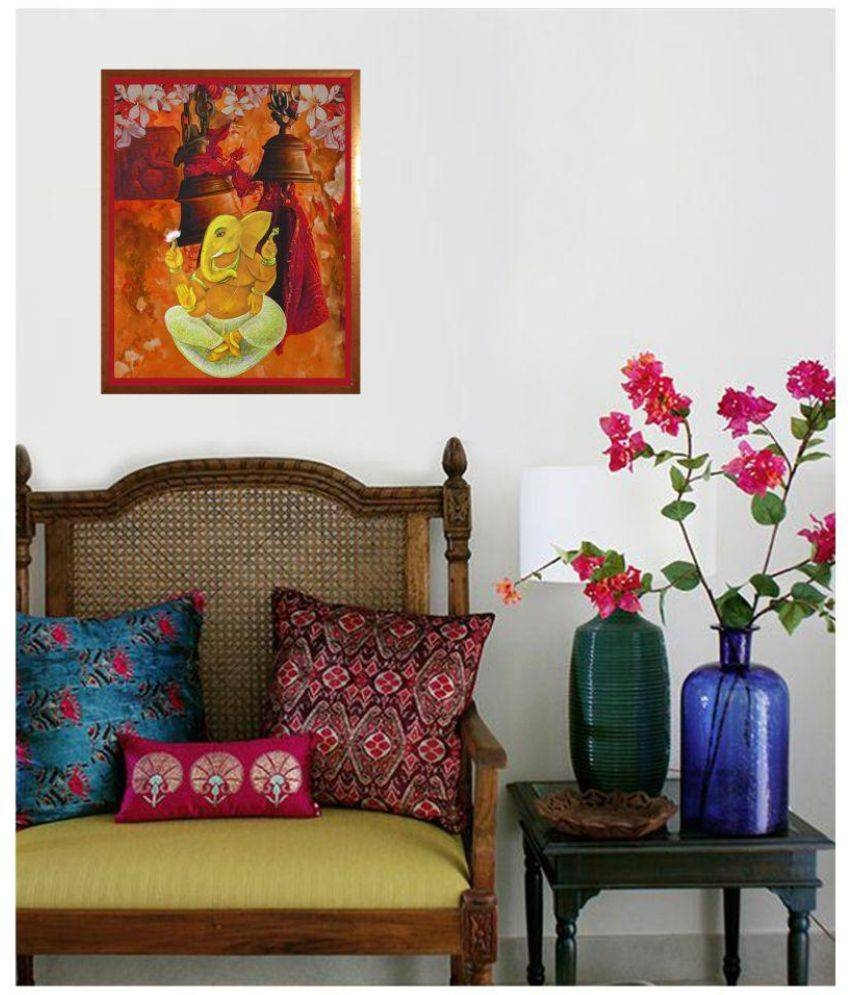Antaram Designs Ganesh Wall Art Canvas Painting With Frame Single Within Most Up To Date Ganesh Wall Art (View 5 of 20)
