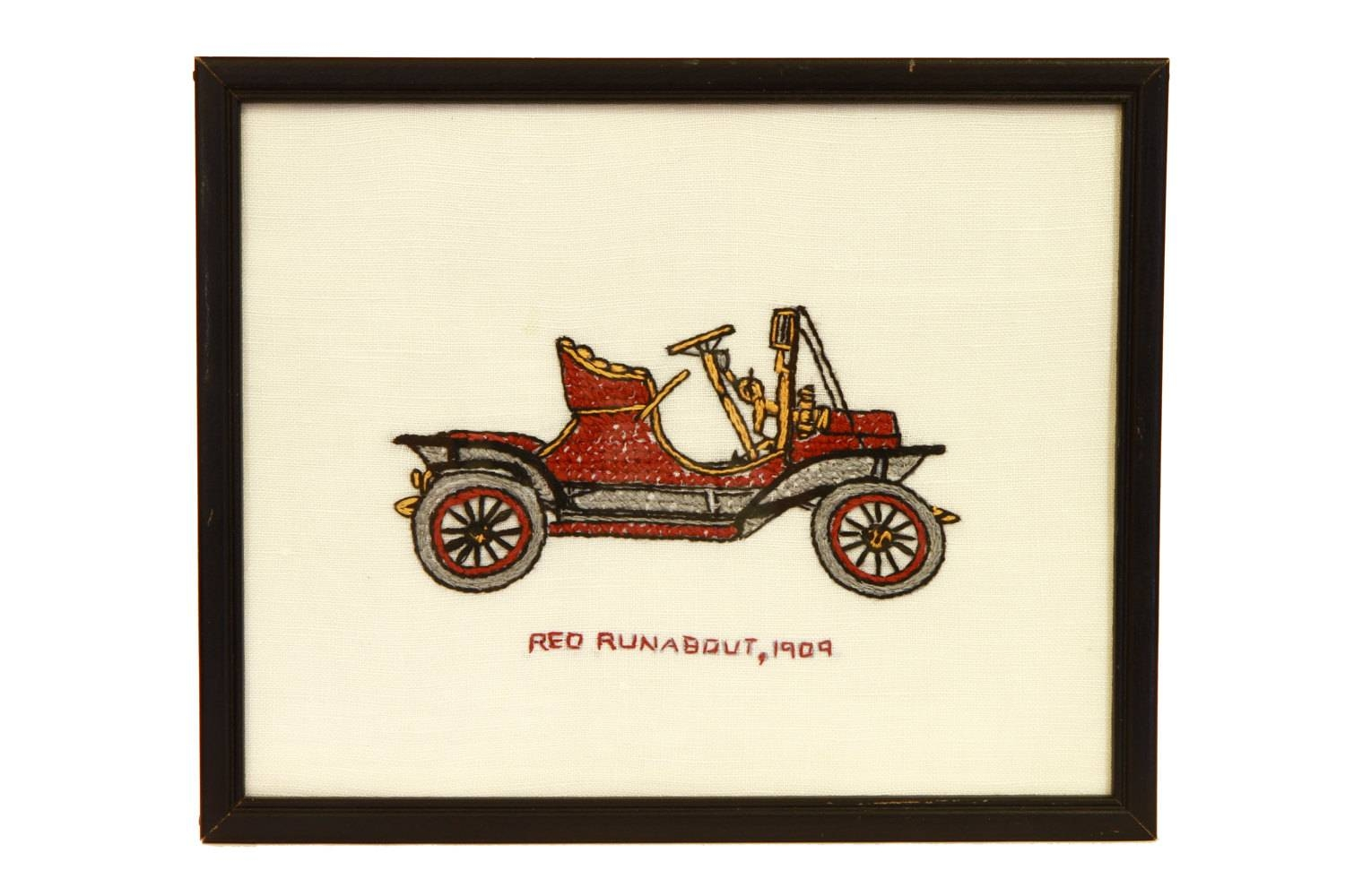 Antique Car Wall Hanging Hand Embroidered Old Car 1909 Red Within Most Recent Classic Car Wall Art (View 7 of 25)