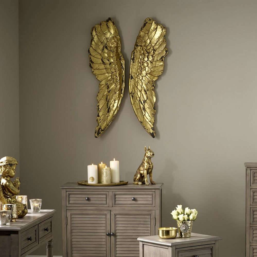 Antique Gold Large Angel Wings|Feather Wall Decor – Candle And Blue Inside Current Angel Wings Wall Art (View 9 of 20)
