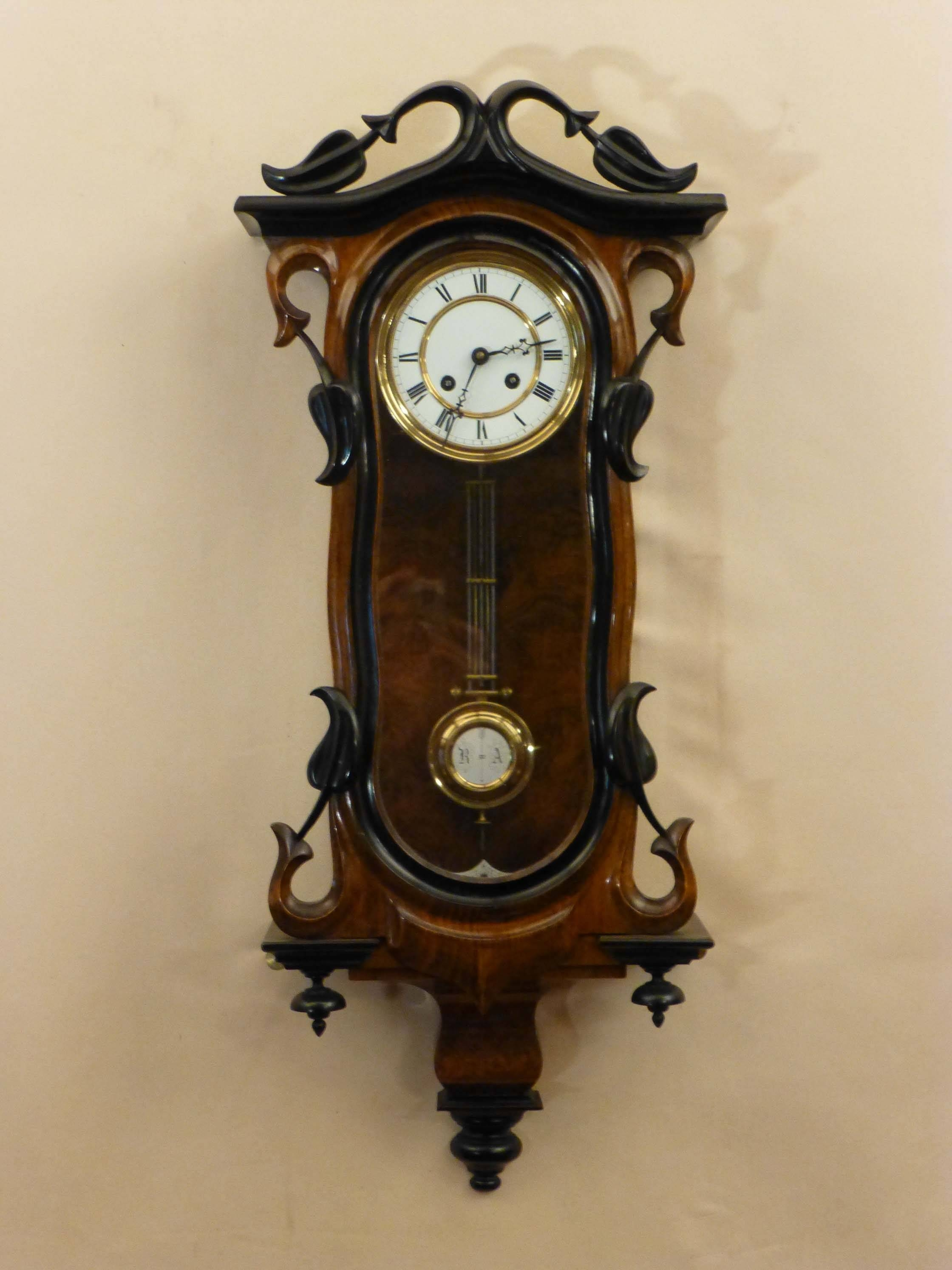 Antique Walnut Vienna Regulator|Art Nouveau Regulator|Essex Intended For Most Popular Art Deco Wall Clocks (View 2 of 25)